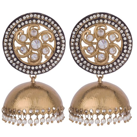 Royal Extravaganza Studded Jhumki Earrings  #jewelry #ethnic #accessories #fashion #deara #‪ #dearafashionaccessories #designerjewelry #handmade #gorgeous