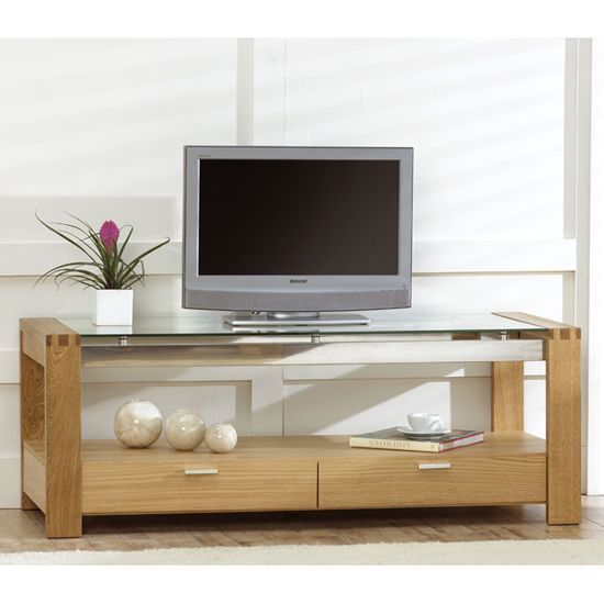 Arturo Solid Oak Glass Top Tv Unit In 2020 Oak Tv Stand Glass