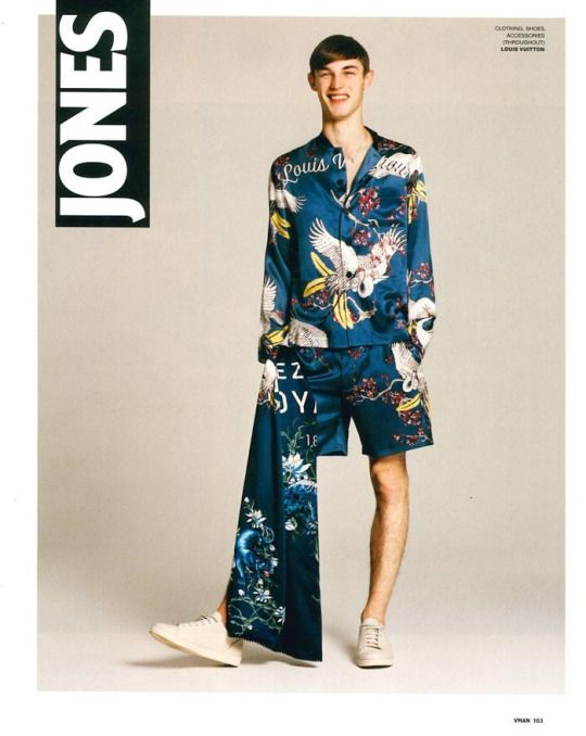 V Man  'Courious Jones' featuring Kit Butler and David Trulik by Brett Lloyd with styling from Louis Vuitton's Kim Jones x the SS'16 Issue of V Man.  Hair and grooming by Teiji Utsumi