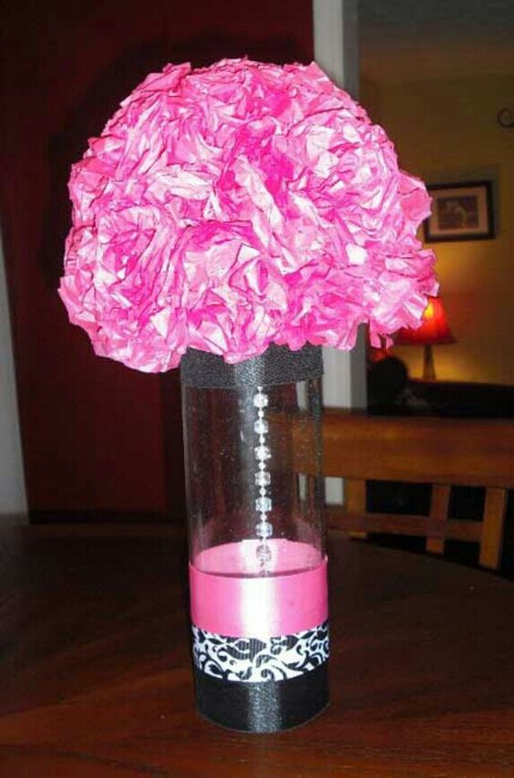 Tissue paper sweet sixteen and the flowers on pinterest for Flower arrangements for sweet 16