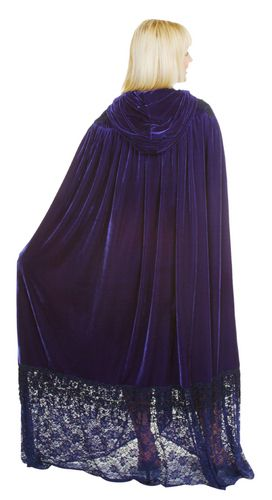 #wendybalisle BEAUTIFUL VELVET HOODED CLOAK~DELUXE~ ~LACE TRIM&ACCENTS~FULL LENGTH~&FABULOUS!~ ~NICE COVER UP FOR DANCING~OPERA OR SPECIAL EVENTS~ ~IN ...