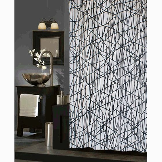 Abstract Black and White Fabric Shower Curtain   Cortinas ...