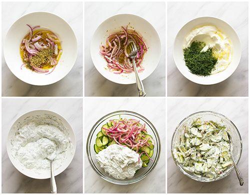 مقادير عمل سلطة الزبادي بالخيار Greek Cucumber Salad Cucumber Salad Cucumber Recipes Salad