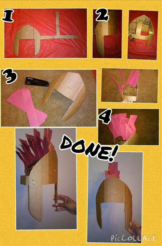 Roman soldier helmet.. Helmet of salvation :) 1. Cut out template shown with cardboad. 2. Fasten straps with brads 3. Staple strips of red paper along top strap 4. Optional-slit red strips in two and bend to make it look fuller  DONE! 5. Let kids paint and decorate!!!
