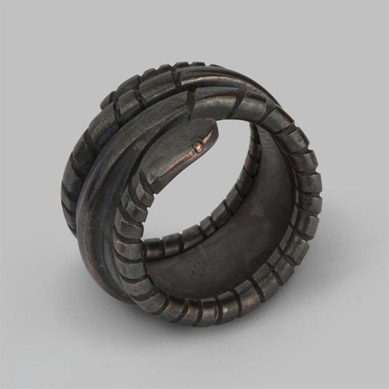 Bespoke brass Viking Snake Ring custom made by Stephen Einhorn for Angelina Jolie's Maleficent film character
