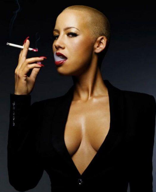 Sexy bald head woman