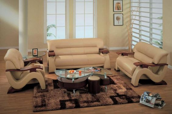 $1100 - **Sherman 3 Piece Cappucino Leather Sofa Set! VERY MODERN! - $1100 (South Park)