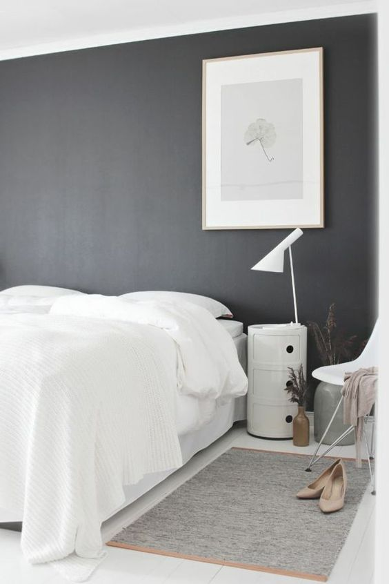 Schlafzimmer weiße bettwäsche graue wand bild ähnliche tolle ...