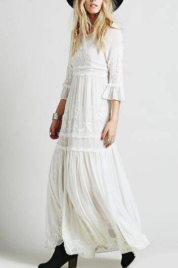 sino mangas bordado Maxi Vestido de Branco - US$49.95 -YOINS