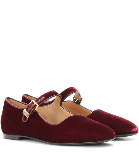 Velvet red Mary Jane ballerinas