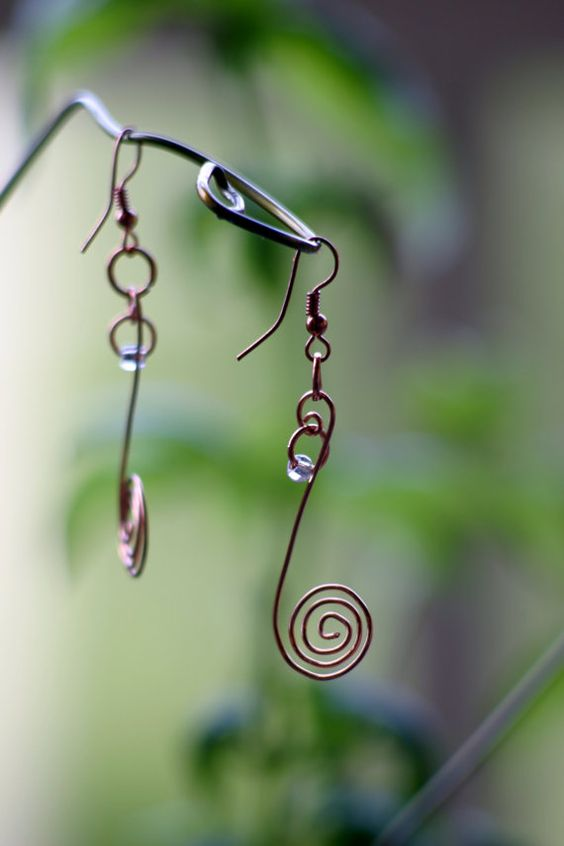 discounted items!! Tail of the Chameleon copper wire earrings by WytchWired on Etsy, $10.00
