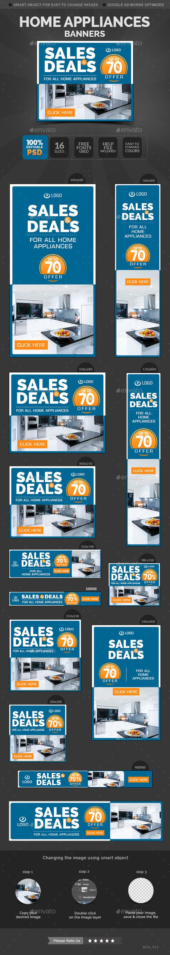 Home Appliances Banners Template #design #web Download: http://graphicriver.net/item/home-appliances-banners/11932757?ref=ksioks