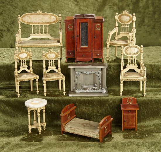 3 5 5 Lot Of German Dollhouse Furniture For Parlor And Bedroom Art Antiques Collectibles Toys Hobbies D Dollhouse Furniture Doll House Antique Dolls