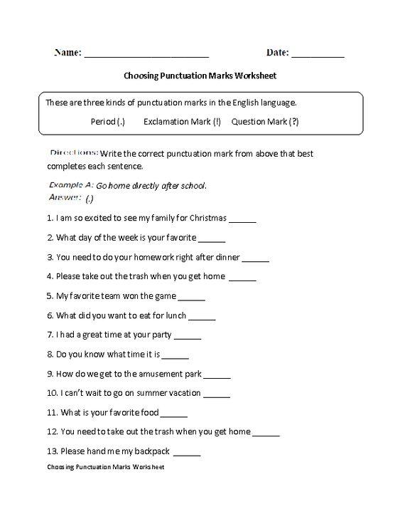 choosing punctuation marks worksheet board pinterest punctuation and. Black Bedroom Furniture Sets. Home Design Ideas