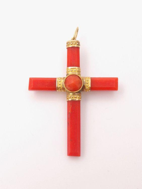 Très belle croix ancienne en corail rouge et or 18k Napoleon III XIXeme in Bijoux, montres, Joaillerie, Colliers, pendentifs   eBay