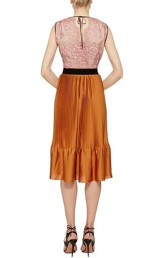 Tome PINK LACE AND PLEATED SLEEVELESS DRESS