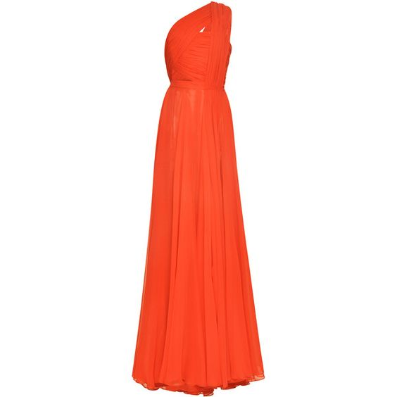 Prabal Gurung Crimson Hand-Draped Chiffon Gown ($4,995) ❤ liked on Polyvore featuring dresses, gowns, red gown, slit maxi skirt, red evening dresses, long red skirt and red dress