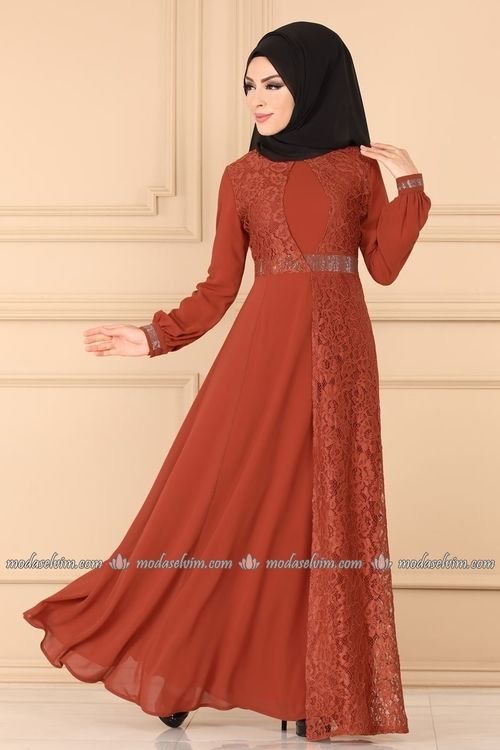 Modaselvim Abiye Tasli Sifon Tesettur Abiye 3385ah193 Kiremit Moda Stilleri Musluman Modasi The Dress