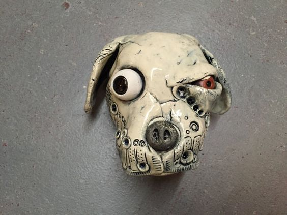 how to make a clay dog head
