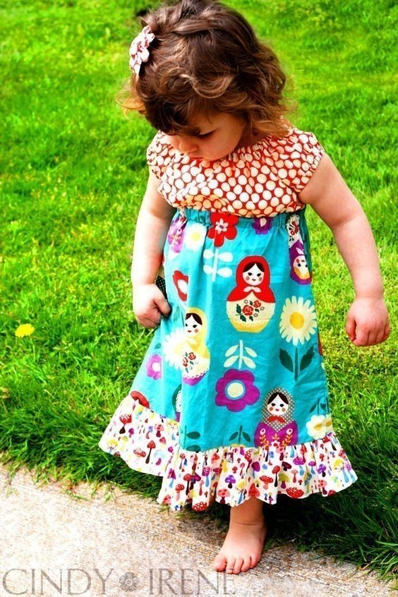 Russian Nesting Dolls PEASANT DRESS -- Available in Sizes 6m 12m 18m 2T 3T 4T 5 6 7 8. $48.00 USD, via Etsy.