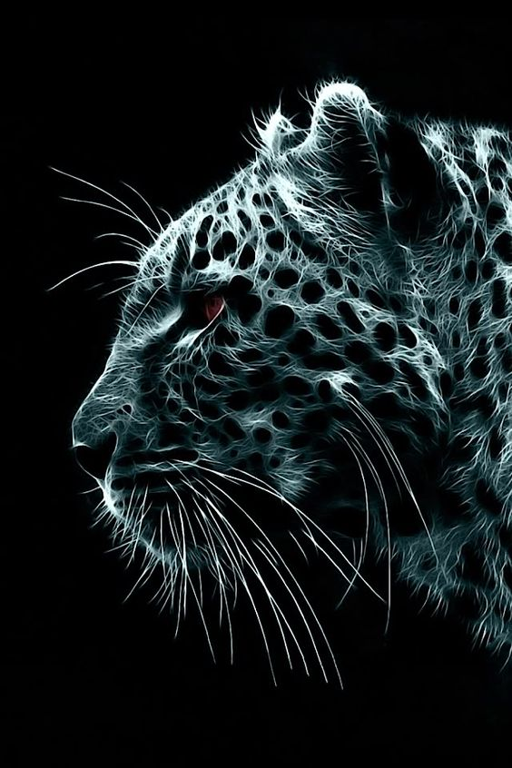 Jaguar Big Cat Animal Feline Fractal Art IPhone Wallpaper