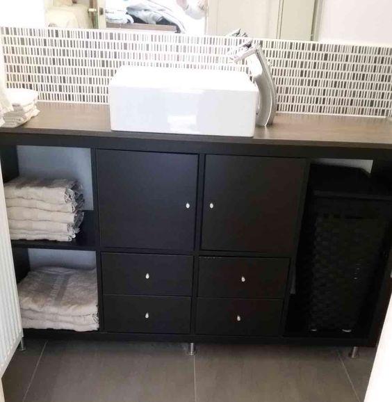 Meuble DIY ikea pour une petite salle de bain Coiffeuses, Hacks et - meuble cuisine porte coulissante ikea