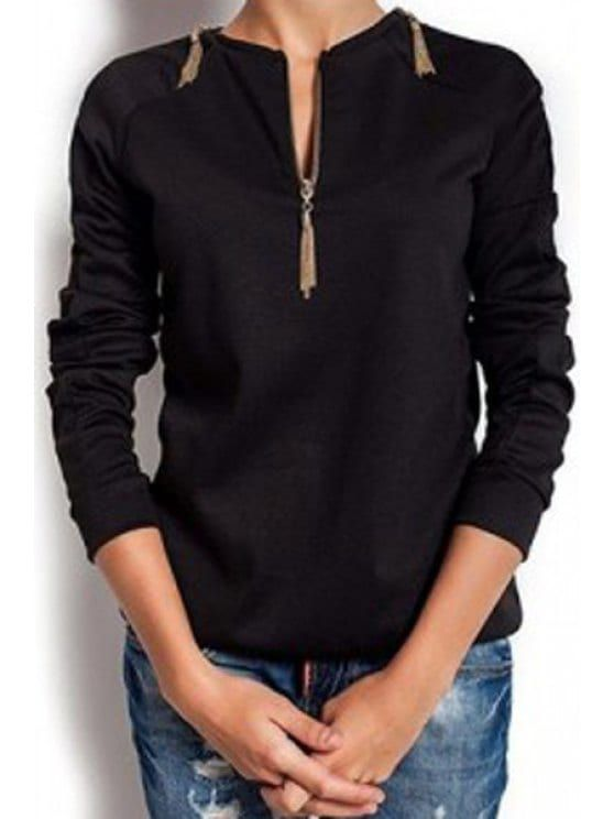 Long Sleeve Zipper Design T-Shirt - BLACK M
