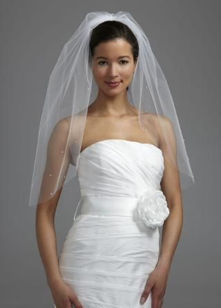 One Tier Veil with Rhinestone and Pearls - David's Bridal - mobile