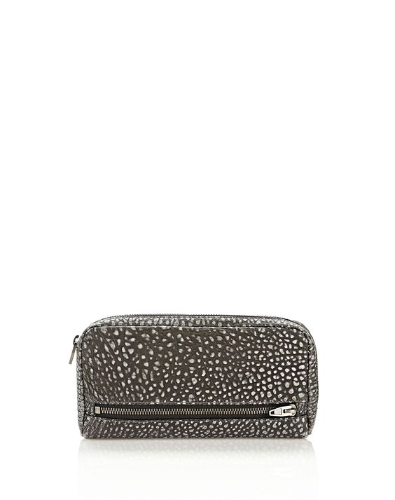 fumo continental wallet in pebbled black/white tip with black nickel - Small leather good Women - Accessories Women on Alexander Wang Online Store