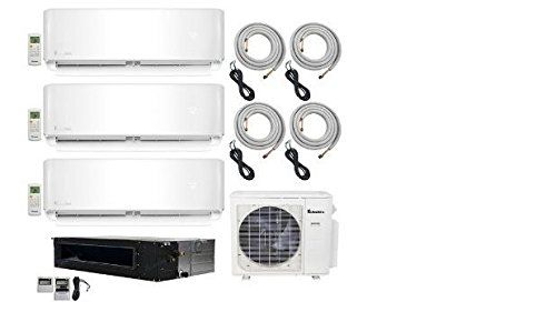 Klimaire 4zone Multisplit 36000 Btu Inverter Heat Pump 3x9000 Btu Wall Mount And 1x18000 Ducted Recessed Fan Coils 20 Heat Pump Heating And Cooling Cool Stuff
