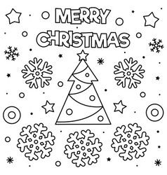 Merry Christmas Coloring Page Black And White Vector In 2020 Merry Christmas Coloring Pages Birthday Coloring Pages Happy Birthday Coloring Pages