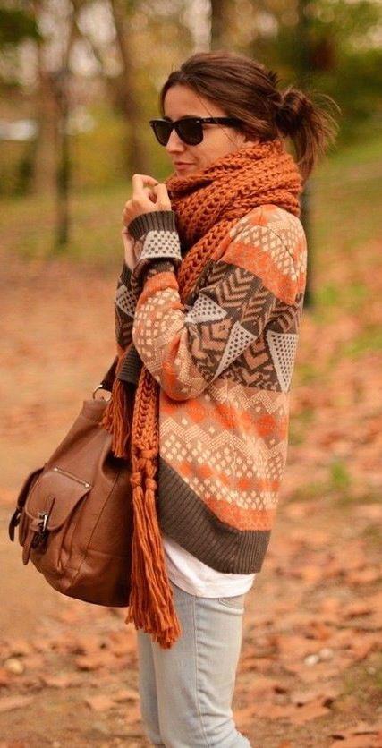 #fall #fashion / orange scarf