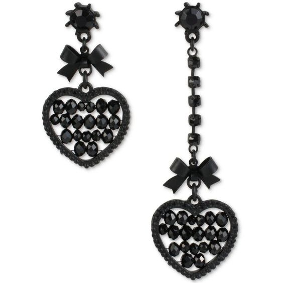 Betsey Johnson Black-Tone Heart and Bow Mismatch Drop Earrings (€18) ❤ liked on Polyvore featuring jewelry, earrings, accessories, betsey johnson, no color, betsey johnson jewellery, heart drop earrings, bow earrings and heart jewelry