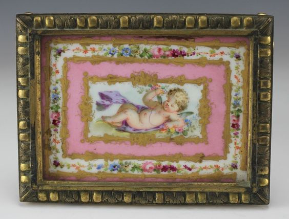 C1900 French Porcelain Tile with Gilt Bronze Footed Frame Handpainted Putti | eBay