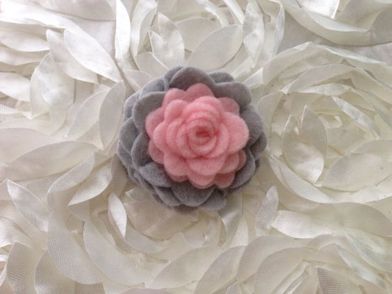 I Felt For You Gray and Pink Flower Headband or Hair Clip on Etsy, $7.50