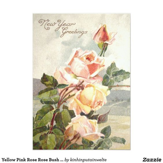Yellow Pink Rose Rose Bush Roses 5x7 Paper Invitation Card