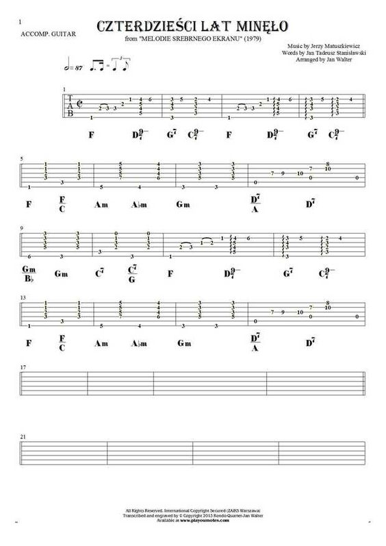 Czterdzieci Lat Mino Guitar Solo Guitar And Sheet Music