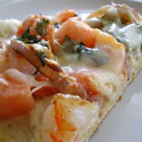 Seafood Pizza with Parmesan Garlic Sauce. This is amazing, made it tonight for dinner, super easy!