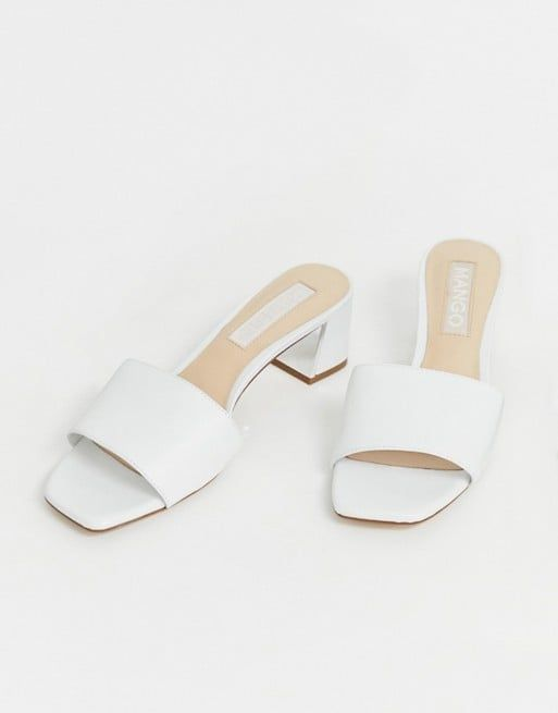 Mango Kitten Heel Mules in White