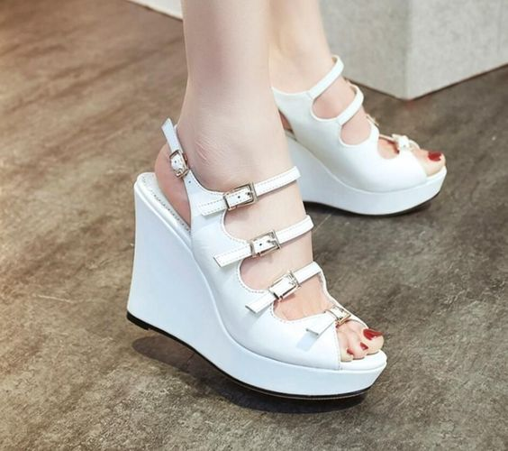 Women Peep Toe Belt Buckle Leather Hollow Out Ankle Strap Wedge Sandals Shoes F'