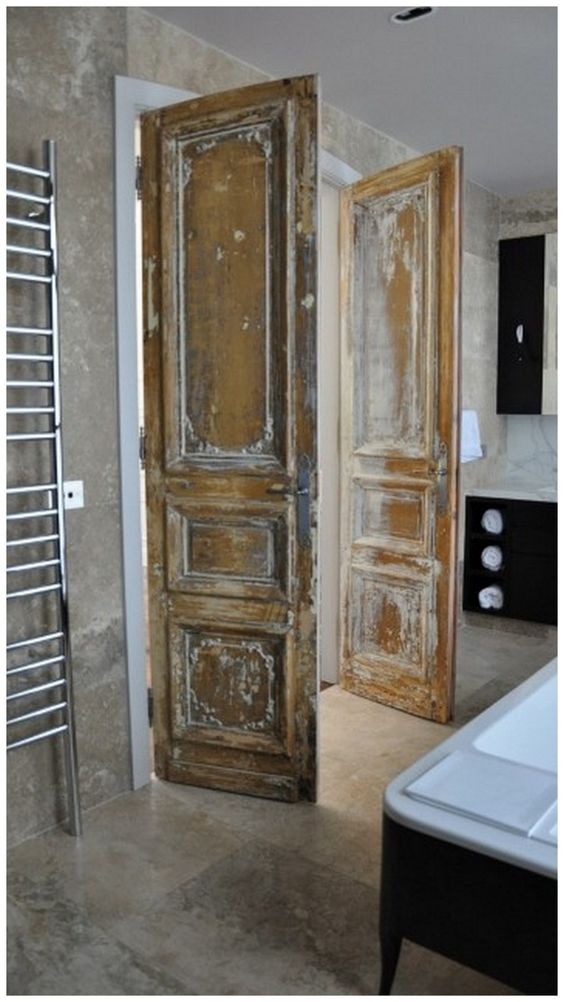 French doors door ideas and master suite on pinterest - Small french doors for bathroom ...