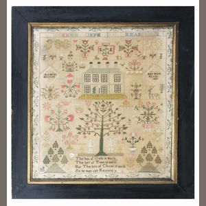 A 19th century Adam and Eve sampler  With Adam and Eve under the tree-of-life, below a large house, surrounded by floral motifs, by 'Margret Mitchell, her work March 1836'