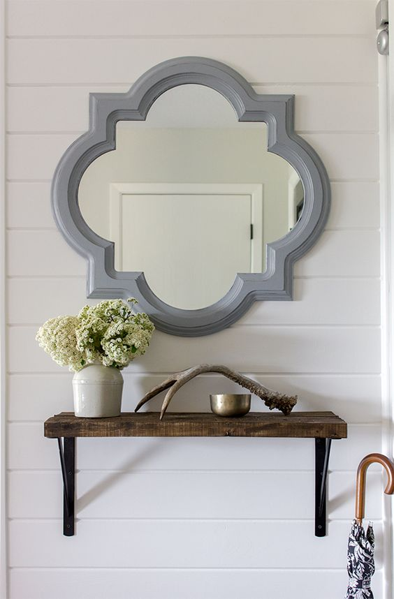 Foyer Mirror And Shelf : Small foyer storage diy shelf with stained pallet wood