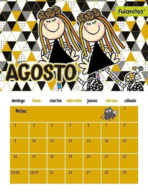 Tareitas Calendario Agosto Calendario Fulanitos Trazos De Letras