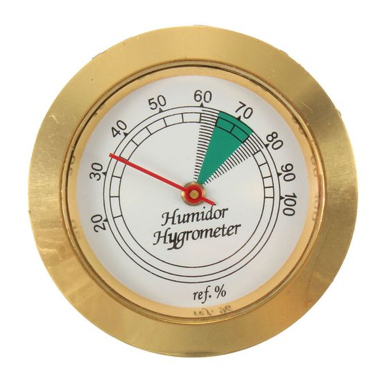 43mm Diameter Calibrate-able Gold Frame Round Hygrometer for Cigar Humidor NEW