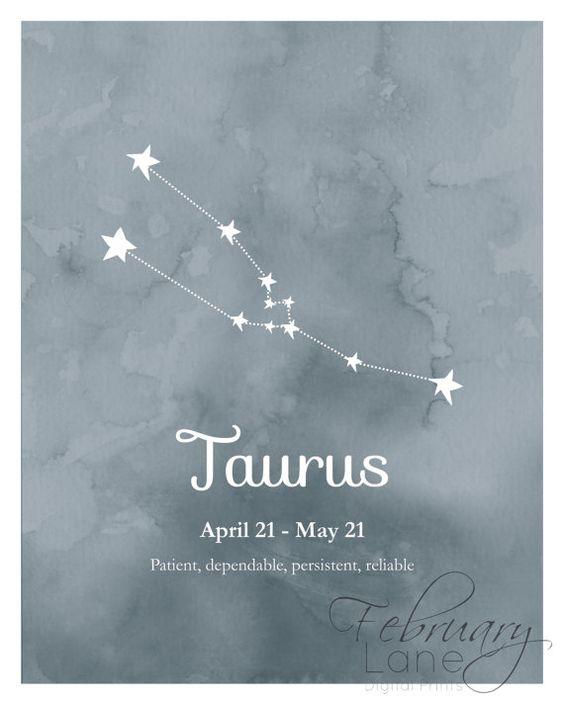 sticker taureau du zodiaque constellation imprimable 8 x 10 t l chargement imm diat. Black Bedroom Furniture Sets. Home Design Ideas