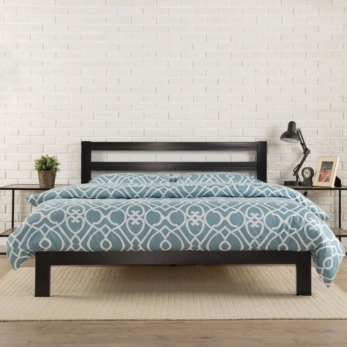 King Heavy Duty Metal Platform Bed Frame With Headboard And Wood