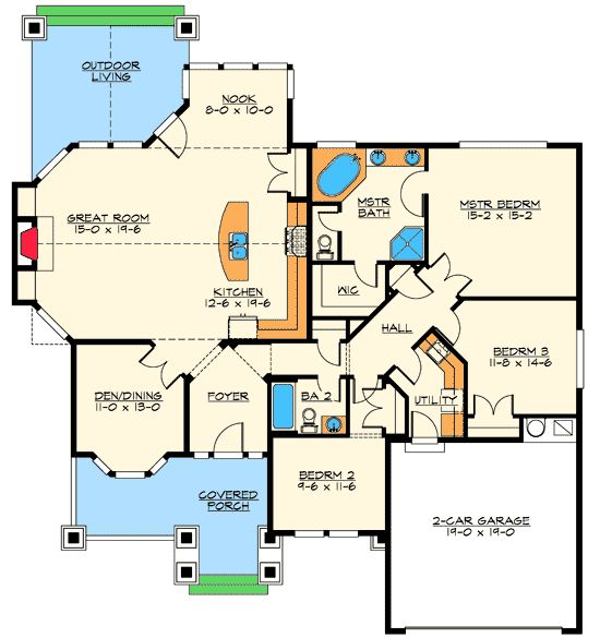 Outdoor living rooms outdoor living and craftsman on for Master bedroom with sitting room floor plans