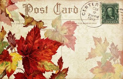 In Dreamful Autumn ~ postcard image with maple leaves and an October postmark date.: