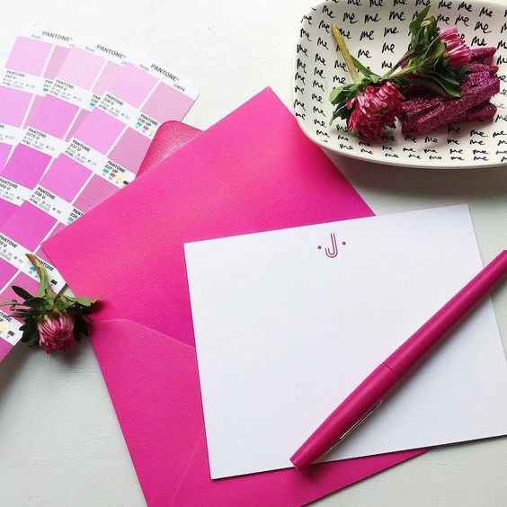 Preppy pink stationery photo via @effiespaper #FlowerFriday #Pantone by pantone